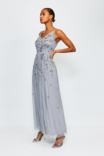 Blue Floral Embellished Maxi Dress