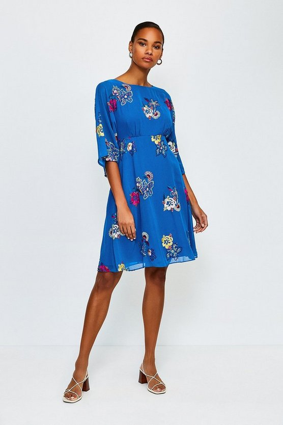 Blue Printed Floral Dress