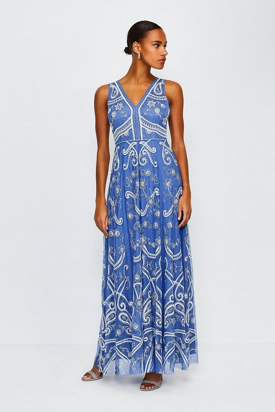 Blue Embellished V Neck Maxi Dress