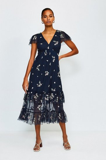 Black Floral Ruffle Midi Dress