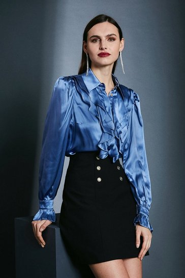 Blue Silk Ruffle Sleeved Shirt With Cuff Detail