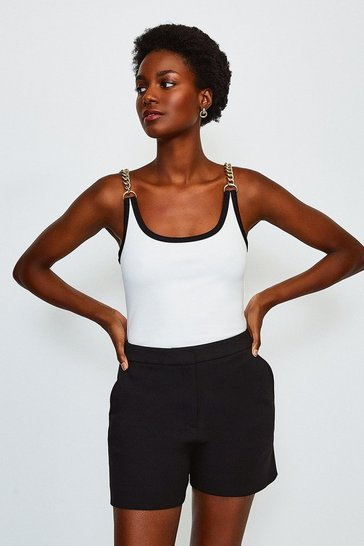 Ivory Chain Shoulder Ponte Vest