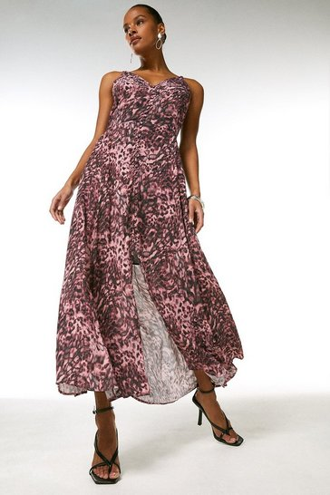 Pink Printed Viscose Mix Strappy Dress