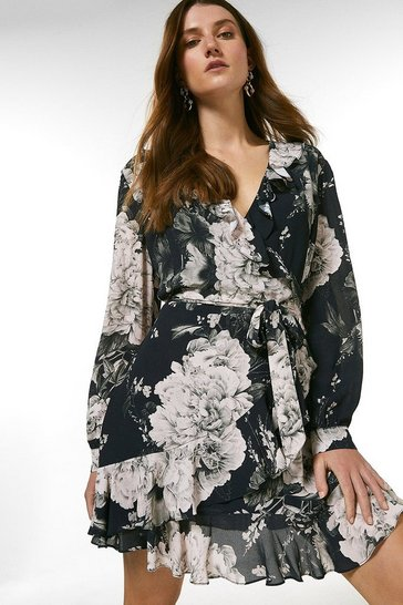 Black Printed Wrap Front Long Sleeve Mini Dress