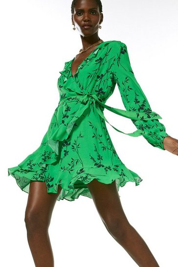 Green Printed Wrap Front Long Sleeve Mini Dress