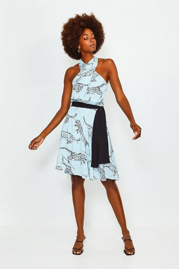 Ivory Printed Halter Tie Waist Dress