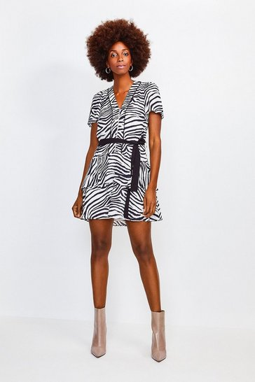 Zebra Printed Zip Front Short Dress