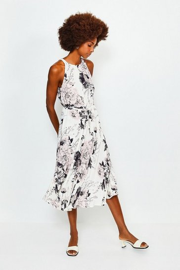 Floral Sleeveless Long Dress With Drawstring Waist