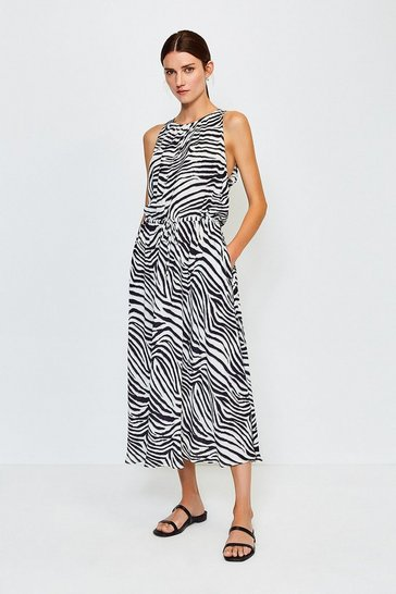 Zebra Sleeveless Long Dress With Drawstring Waist
