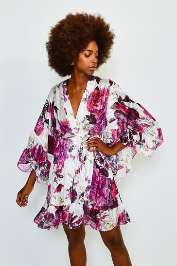 White Printed Fluted Sleeve Wrap Short Dress