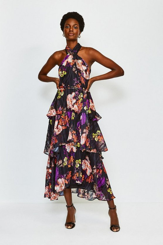 Black Printed Halter Neck Tie Waist Tiered Dress