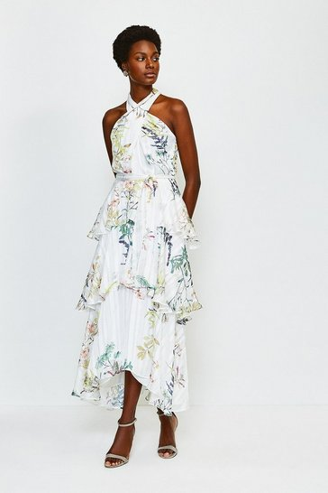 Lime Printed Halter Neck Tie Waist Tiered Dress