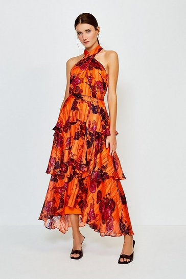 Orange Printed Halter Neck Tie Waist Tiered Dress