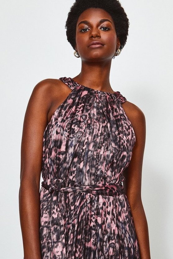 Pink High Neck Printed Midi Dress