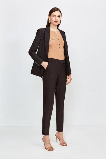 Black Cotton Sateen Capri Trousers