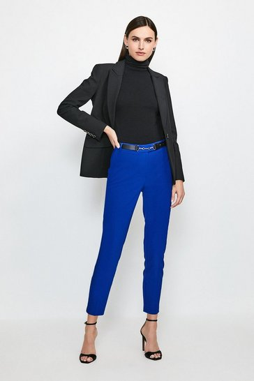 Cobalt Cotton Sateen Capri Trousers