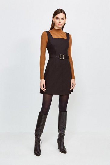 Black Square Neck Belted Tie Back Short Dress
