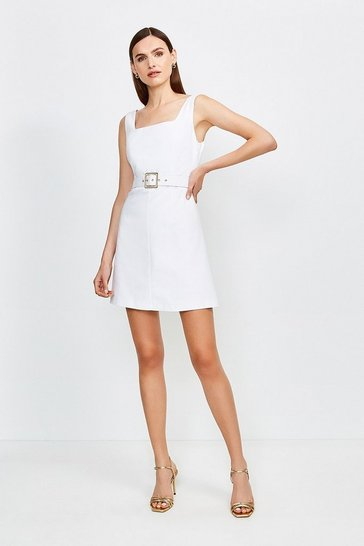 Ivory Square Neck Belted Tie Back Short Dress