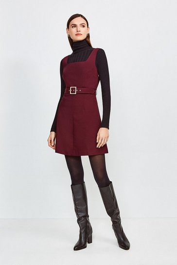 Merlot Square Neck Belted Tie Back Short Dress