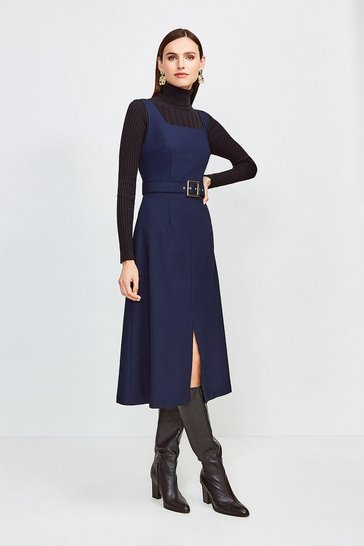 Navy Square Neck Belted Tie Back Midi Dress