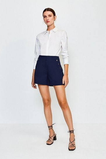 Navy High Waist Gold Studded Shorts