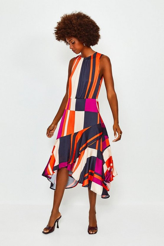 Stripe Striped Colour Block Midi Dress