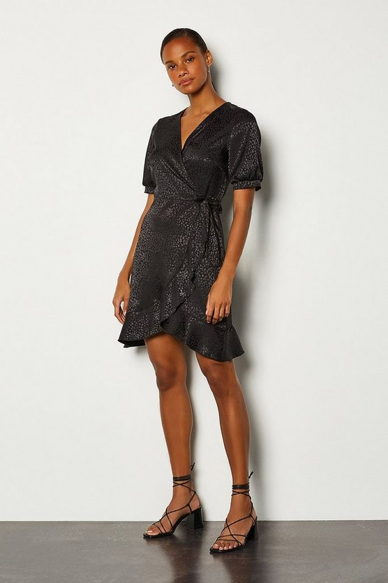 Black Jacquard Short Sleeved Wrap Short Dress