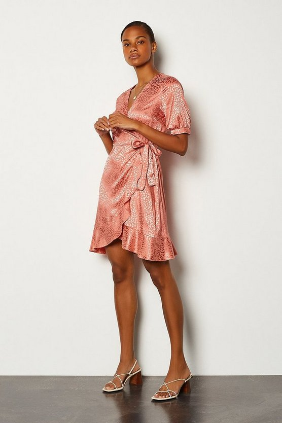 Pink Jacquard Short Sleeved Wrap Dress