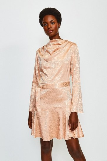 Nude Jacquard Long Sleeved Cowl Neck Dress