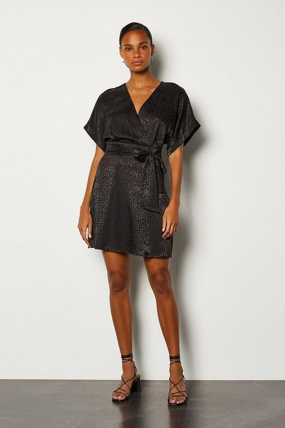 Black Jacquard Wrap Short Dress
