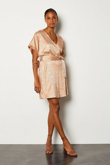 Nude Jacquard Short Sleeved Wrap Short Dress