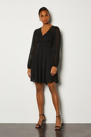 Black Flock Spot And Lace Long Sleeved Dress