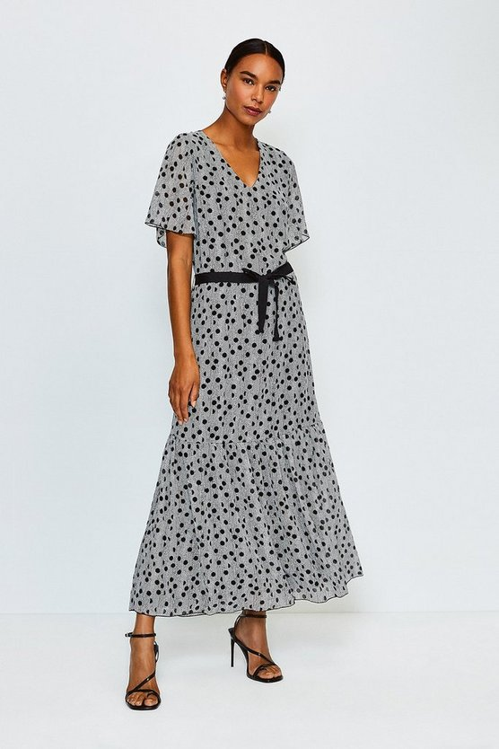 Black Spot Print Tiered Maxi Dress