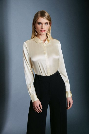 Ivory Silk Satin Long Sleeve Shirt