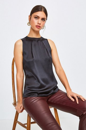 Black Silk Satin Sleeveless Shell Top