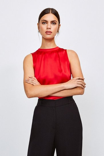 Red Silk Satin Sleeveless Shell Top