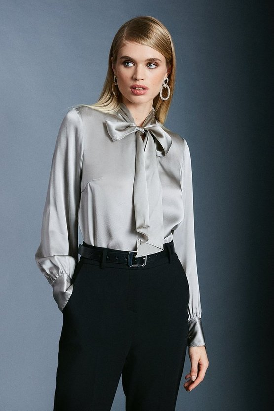 Pale grey Silk Satin Pussy Bow Blouse