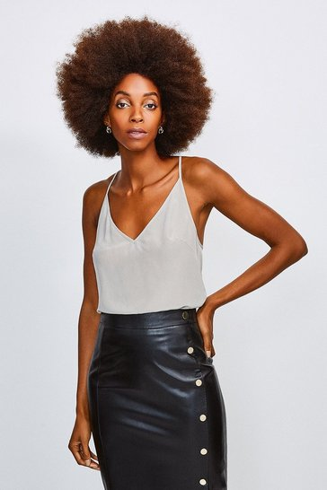 Grey Silk Satin Hardware Strappy Cami