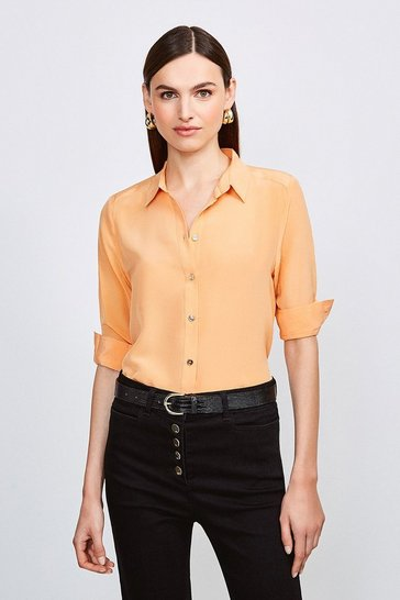 Apricot Silk Satin Slim Fit Shirt