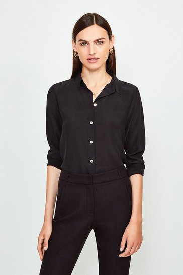 Black Silk Satin Slim Fit Shirt