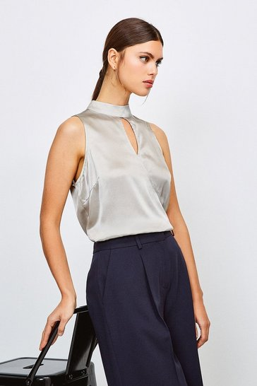 Pale grey Silk Satin Sleeveless Top With Wrap Front