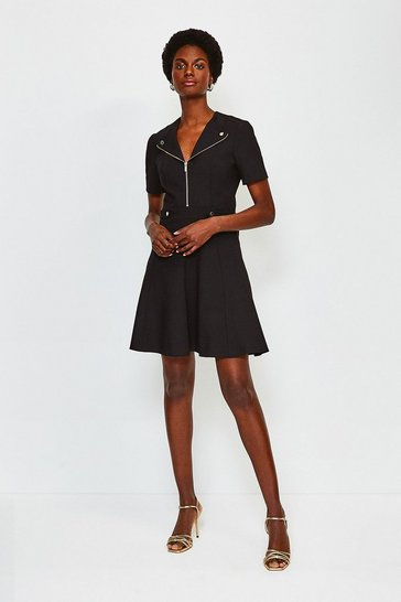 Black Zip Placket Short Sleeve A-Line Dress