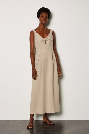 Natural Linen Tie Front Sleeveless Midi Dress