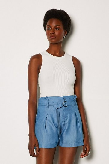 Blue Chambray Tie Waist Short
