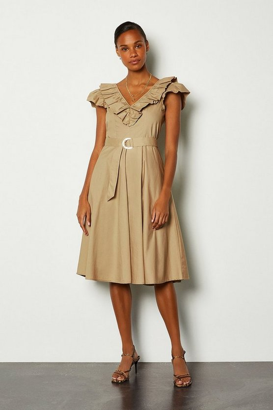 Natural Cotton Poplin Ruffle Tie Belt Midi Dress