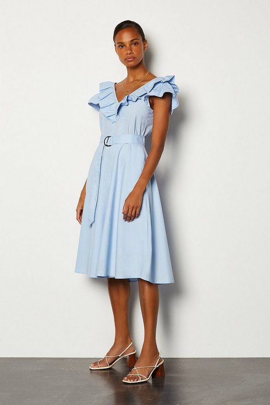 Pale blue Cotton Poplin Ruffle Belted Dress