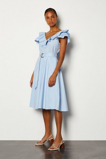 Pale blue Cotton Poplin Ruffle Tie Belt Midi Dress