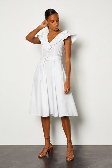 White Cotton Poplin Ruffle Tie Belt Midi Dress