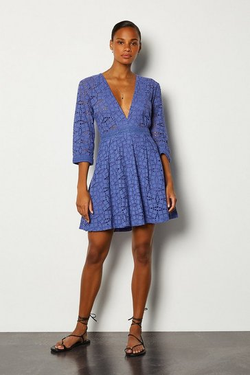 Cobalt Cutwork Embroidered Dress