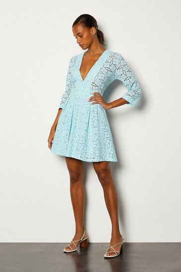 Pale blue Cutwork Embroidered Dress